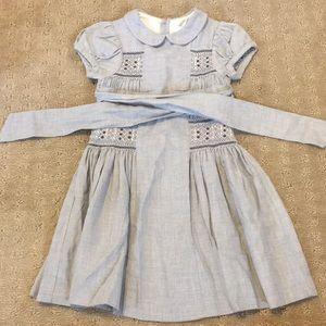 Jacadi Chambray Smocked Peter Pan Collar Dress -2T